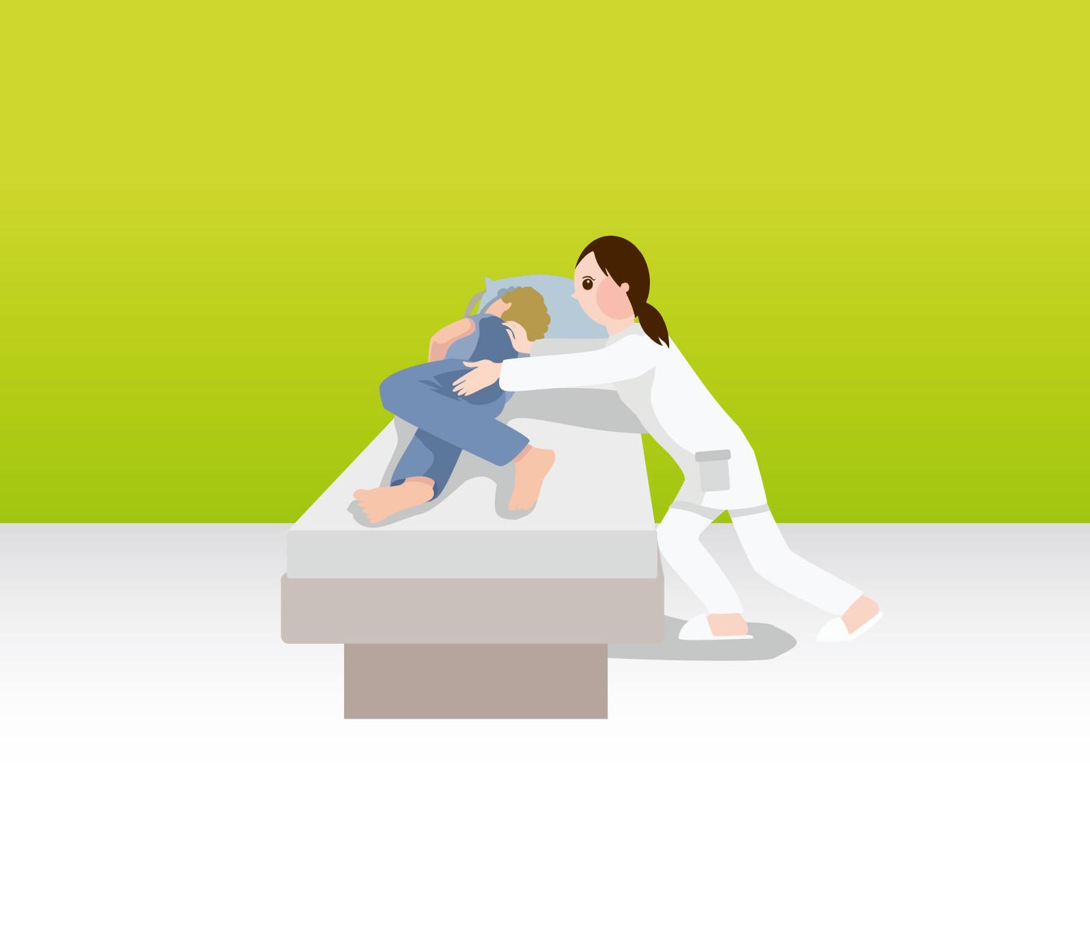 Drehung des Bewohners vom Pfleger weg