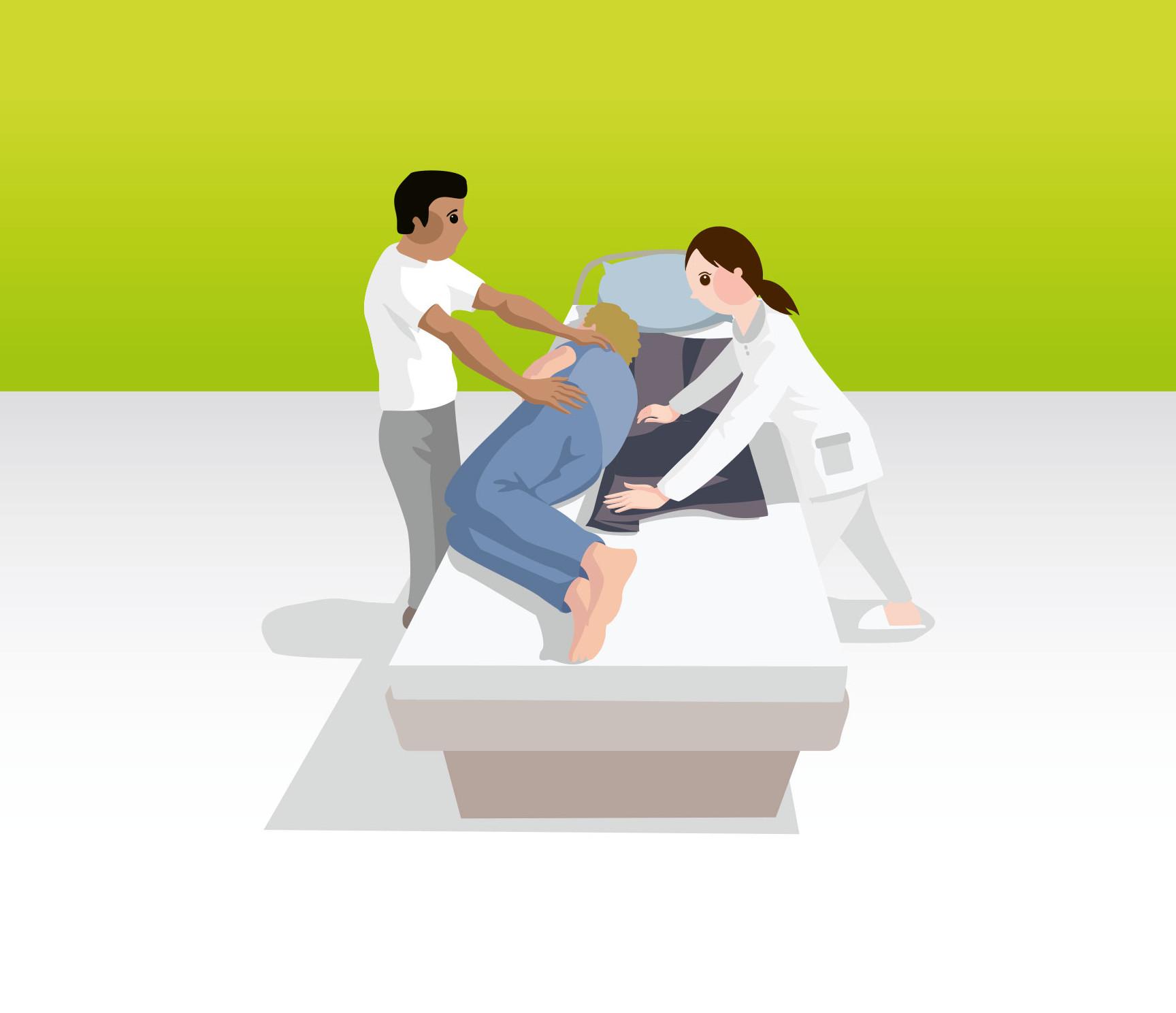 Umlagerung mit Hilfe einer Gleitmatte durch zwei Pflegekräfte