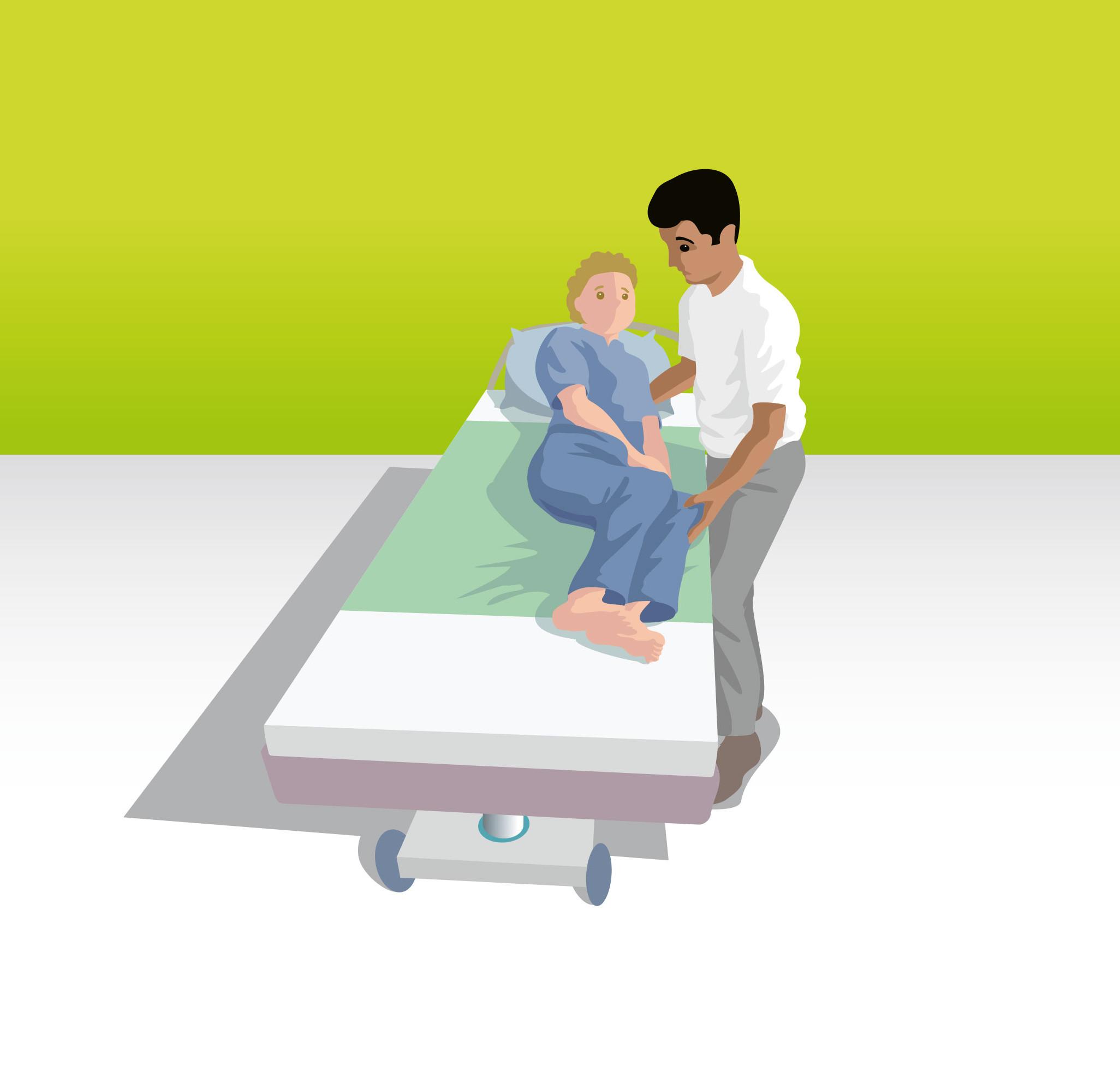 Von der Sitz- in die Liegeposition mit Hilfe des Rückengriffes