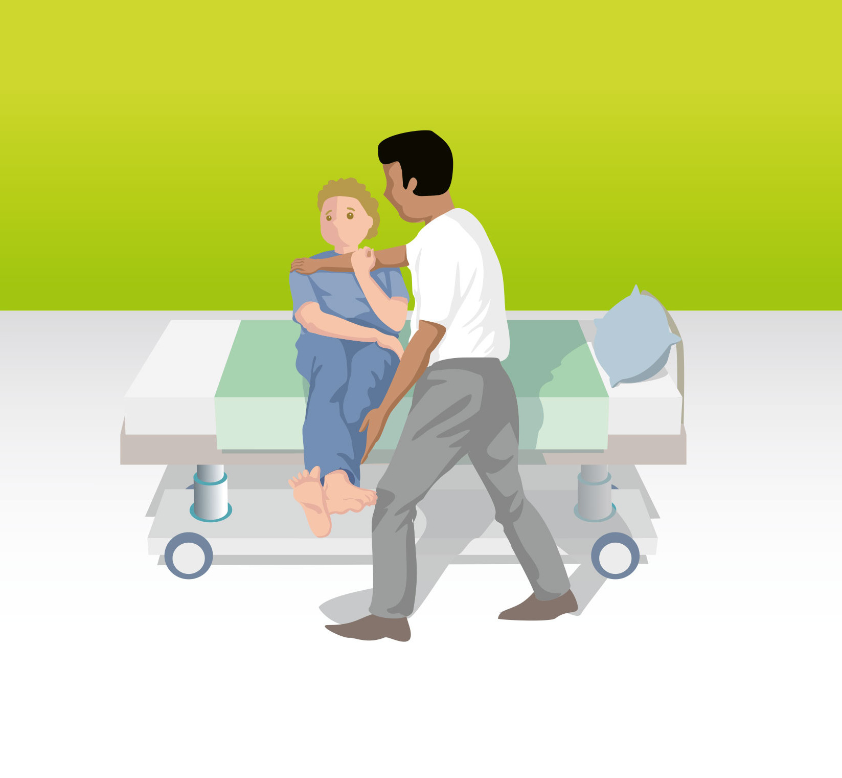 Von der Sitz- in die Liegeposition mit Hilfe des Schultergriffes
