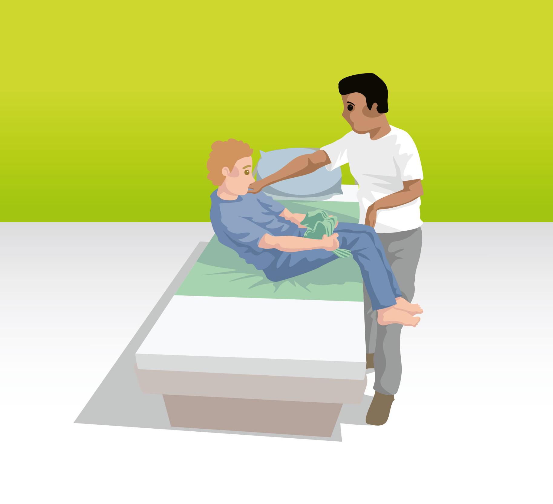 Von der Sitz- in die Liegeposition ohne Druck auf den Abdomenbereich