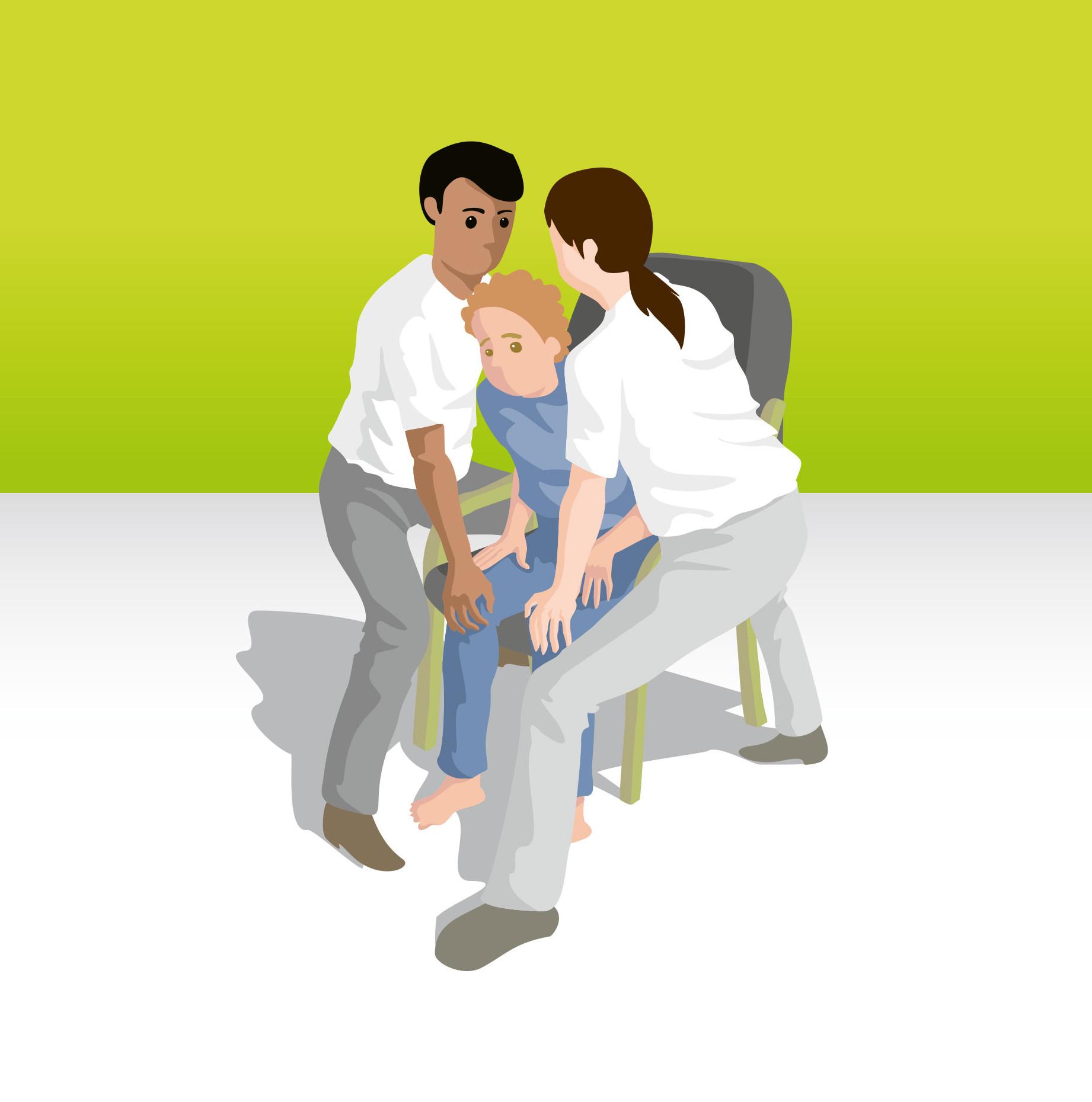 Aufrichtung eines sitzenden Bewohners mit zwei Pflegekräften